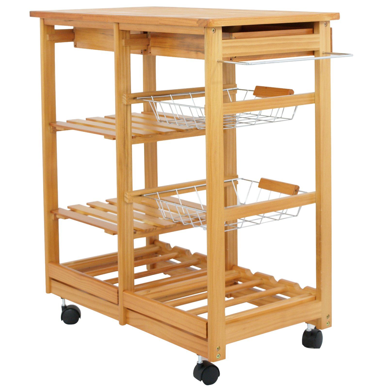 SUPER DEAL Multi-Purpose Wood Rolling Kitchen Island Trolley w/Drawer Shelves Basket by SUPER DEAL (Image #6)