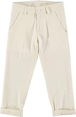 MANUELL&FRANK Pantalón largo de mezcla de lino crema para niño MF1189B