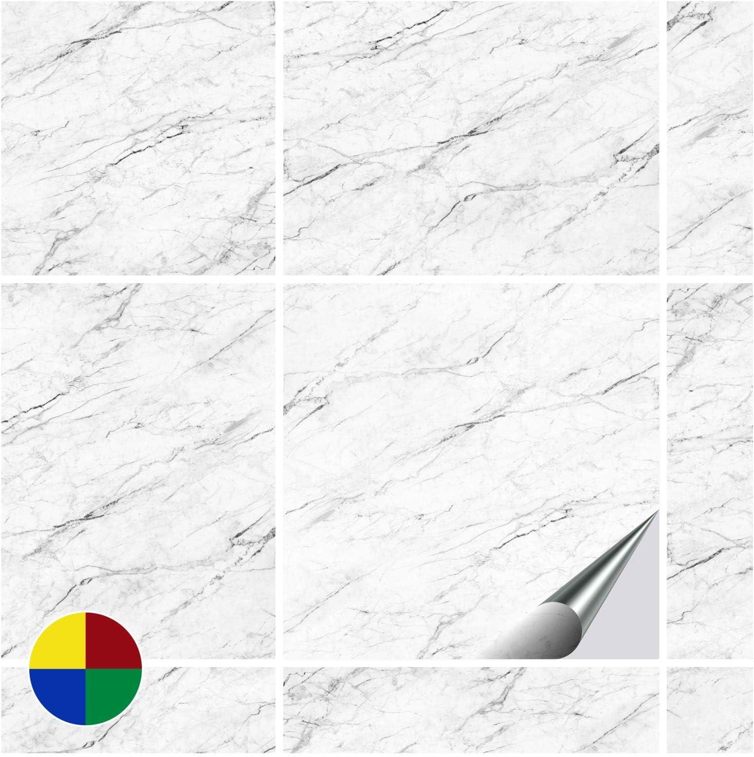 10 Pi/èces Adhesivo de Azulejos para ba/ño y Cocina D/écor Carrara 20 x 25 cm FoLIESEN 200 Pegatinas para Azulejos de Pared