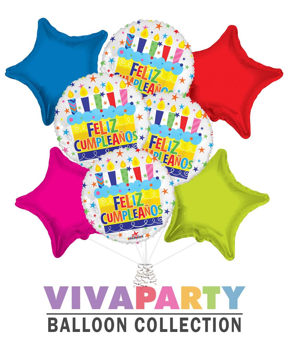 Amazon.com: Feliz cumpleaños Balloon Bouquet 8 pc | Viva ...