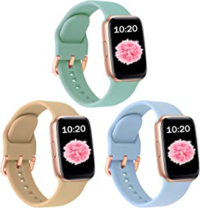 SinJonden 3-Pack Bands Compatible with Apple Watch 42mm 44mm 38mm 40mm, Silicone Bands with Rose Gold Buckle for iWatch Series SE/6/5/4/3/2/1 Women (38mm/40mm-M/L, Turquoise/Walnut/Sky Blue)