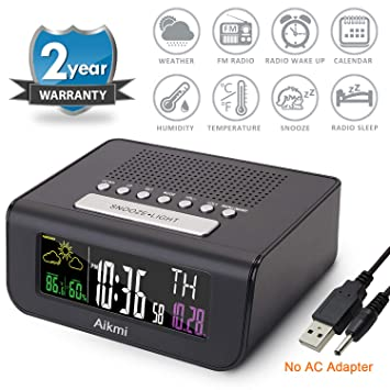 Alarm Clock Radio Color Screen - Digital Clock for Bedroom with Weather  Forecast Dual Alarm Snooze Battery Backup FM Radio Sleep Timer 4\'\' LCD  Display ...