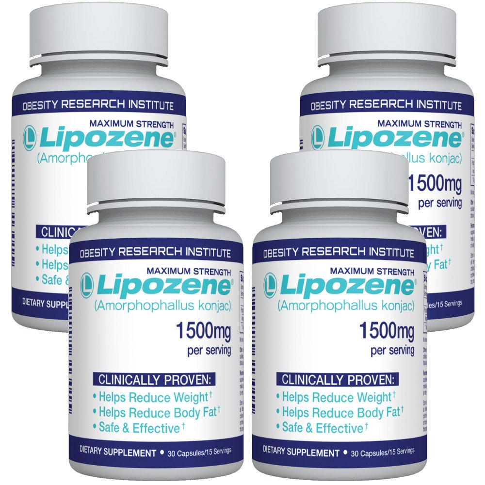 Lipozene Diet Pills - Weight Loss Supplement - Appetite Suppressant and Control - 4 Bottles 120 Capsules - No Stimulants No Jitters by Lipozene
