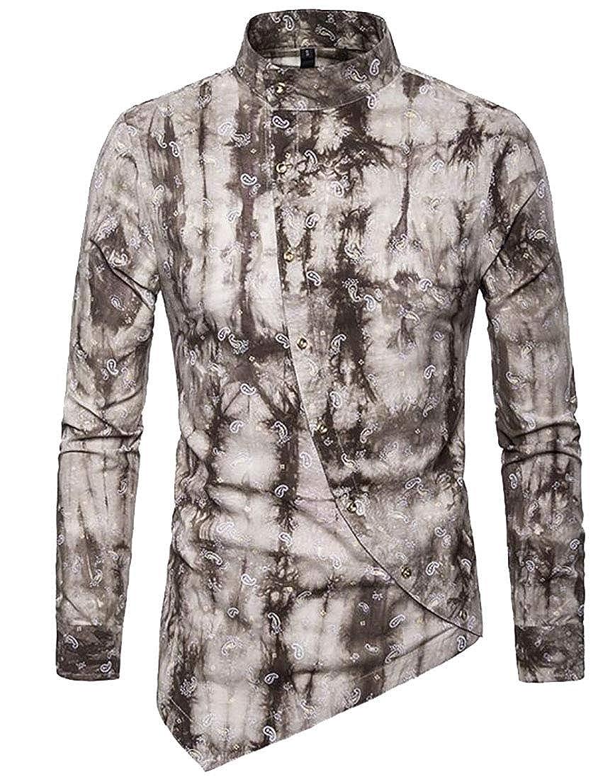 ARTFFEL Mens Casual Floral Print Stand Collar Asymmetrical Button Down Loose Henley Shirt