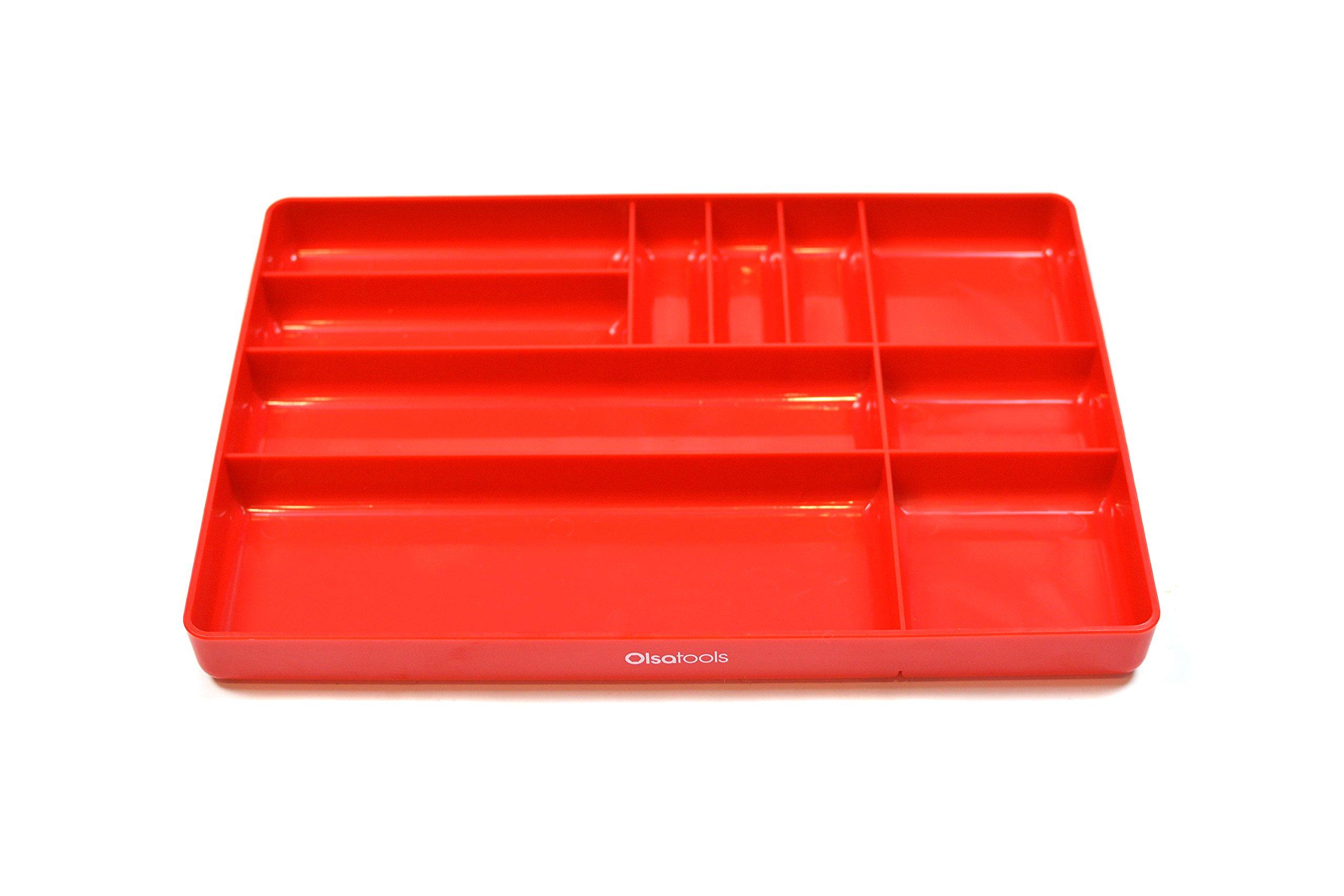 Olsa Tools | Tool Box Organizer Tray | Parts Organizer Tray for Small Parts & Tools | 10-Compartments (RED)