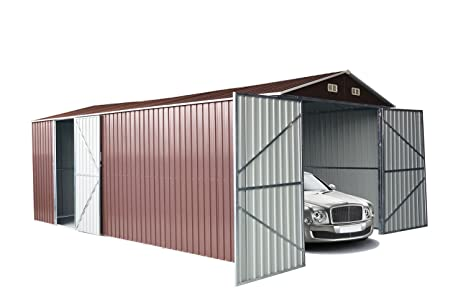 Casita Box Casitas rimessa ripostiglio Garaje coche jardín galvanizada Marrón Tamaño cm 500 x 300 x