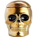 Gold Ceramic Halloween Skull Cookie Jar