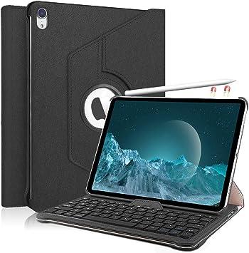 KVAGO Funda con Teclado para iPad Pro 11.1, 360 Giratorio - Teclado Desmontable - Soporte de Cuero de PU - Funda para iPad con Teclado, Negro