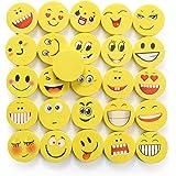 24 Pièces Ensemble Gomme Emoji | Gommes à Emoticône qui Rit pour Enfants | Cadeau d'Anniversaire de Retour | Gomme Colorées et Drôles | Jouet à Smiley pour Enfants