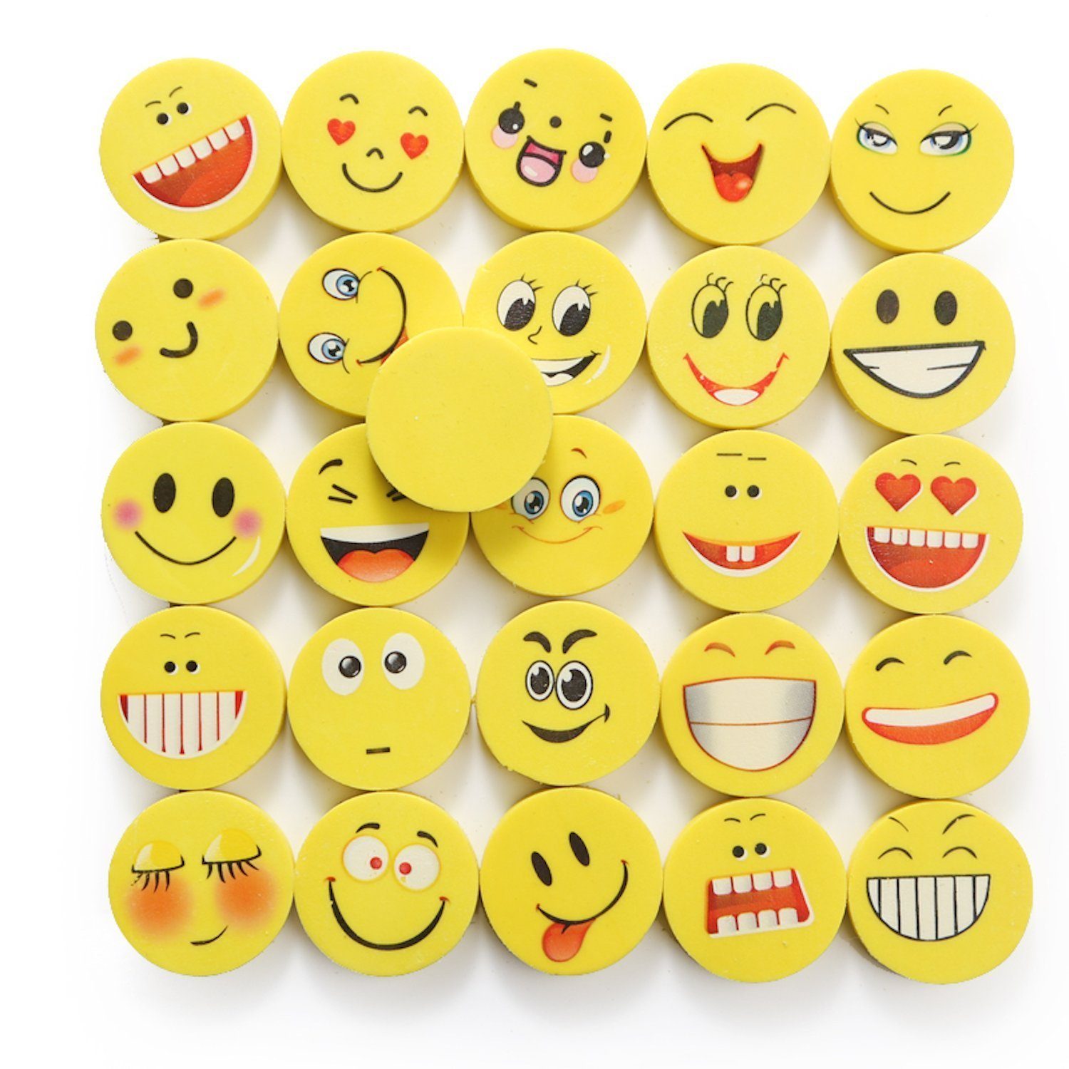 24 Pieces Emoji Erasers Set | Beyond Dreams Laughing Emoticon Eraser for Children | Birthday Gift Give Aways | Colorful Funny Rubbers | Smiley Toys for Kids |