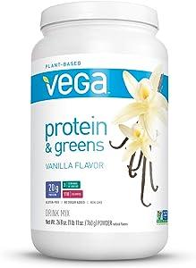 Vega Protein & Greens Vanilla (25 Servings, 26.8 Ounce) - Vegan Plant Based Protein Powder Shake, Gluten Free, Non Dairy, Non Soy, Non GMO