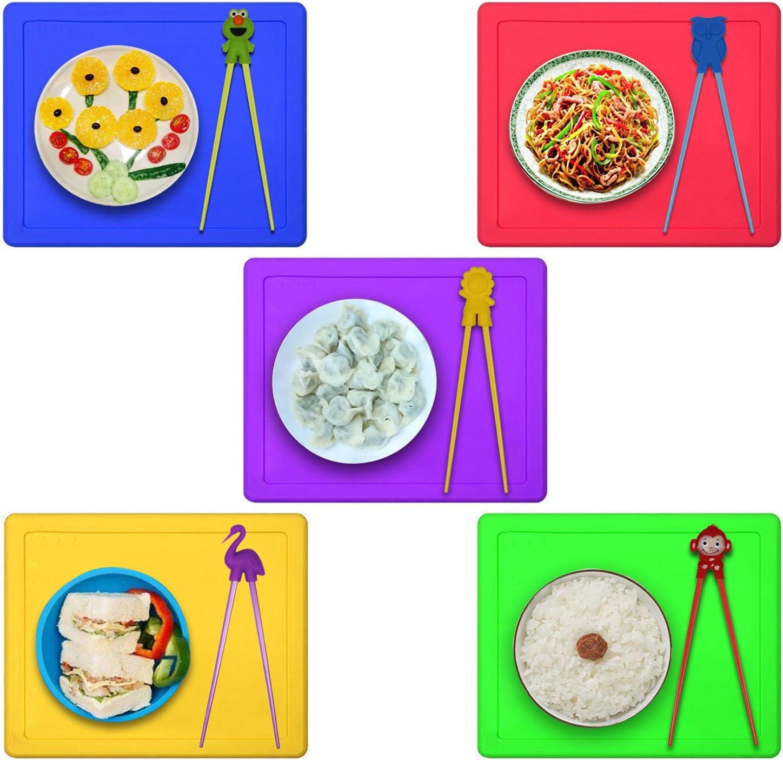YSINFOD Kids Training Chopsticks Learning Chopsticks Baby Practice Chopsticks Children Toddler Beginners Right Left Hand Reusable Chopstick Helper Green elephant