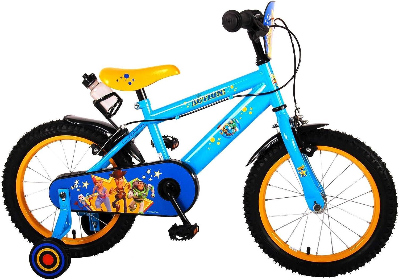 .Volare Bicicleta Niño Chico 16 Pulgadas Toy Story Frenos al Manillar Ruedas Extraíbles Azul Amarillo 85% Montado