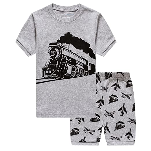 5a746783b1 Amazon.com  Toddler Boys Pajamas Fire Truck 100% Cotton Kids Train 2 ...