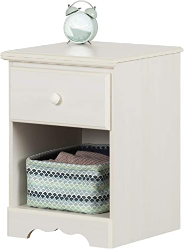 South Shore Summer Breeze 1-Drawer Nightstand-White Wash