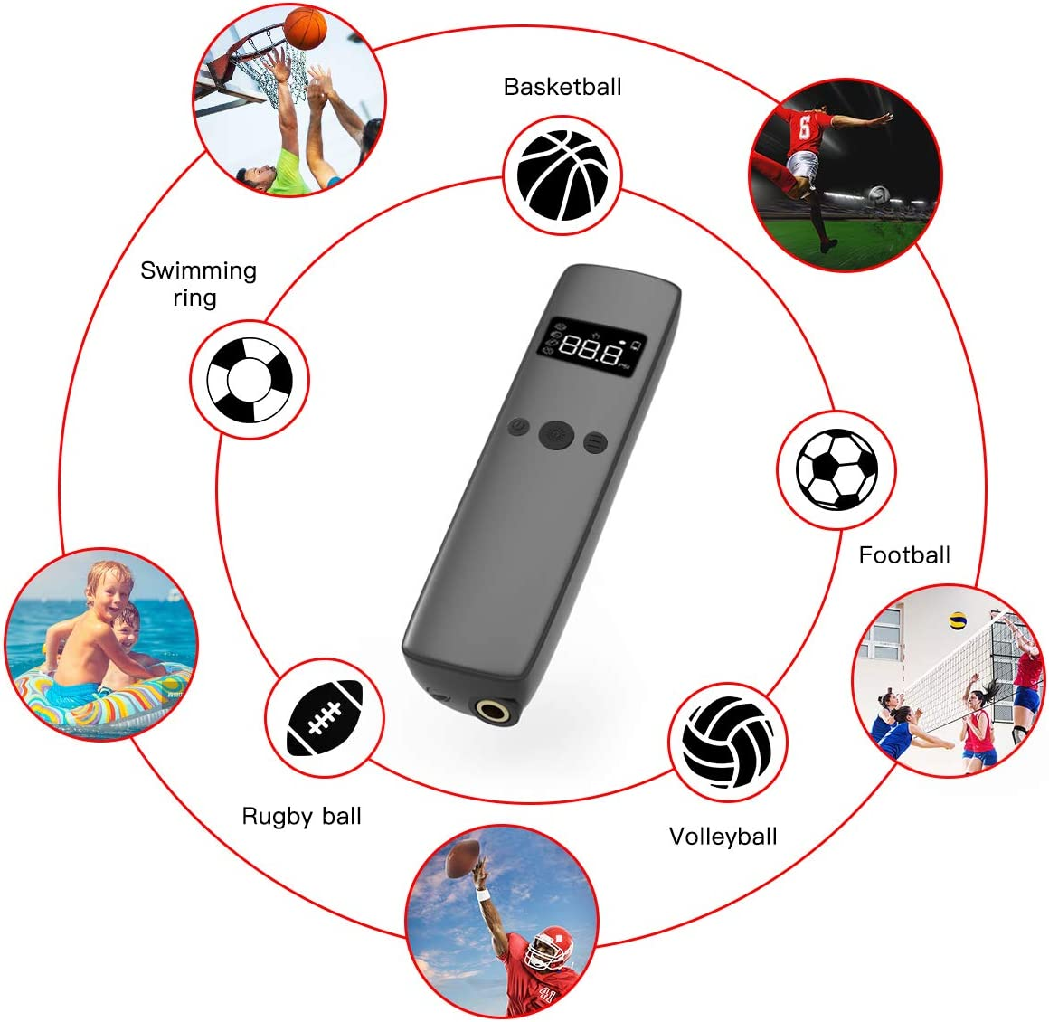 Cadrim Electric Ball Pump Smart Ball Inflator and Handheld Air Inflation with 2 Needle and 1 Nozzle for Sports Ball Soccer Basketball Football Volleyball Rugby