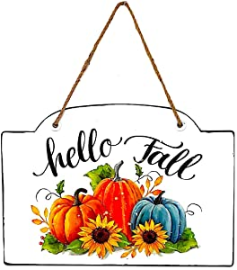 """Gerson Home Office Door Colorful Metal Wall Sign Fall Thanksgiving Pumpkin Decor Indoor Outdoor 17""""x12"""" (Hello Fall)"""