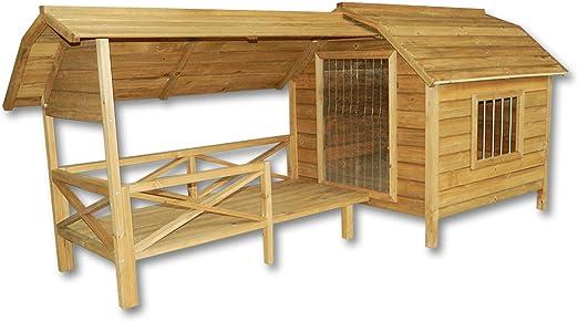 WilTec XXL Caseta Perros Perrera Madera balcón terraza Puerta laminada Mascotas jardín Extra Grande: Amazon.es: Productos para mascotas