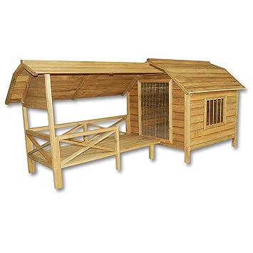 XXL Caseta perros perrera madera balcón terraza puerta laminada mascotas jardín extra grande: Amazon.es: Productos para mascotas