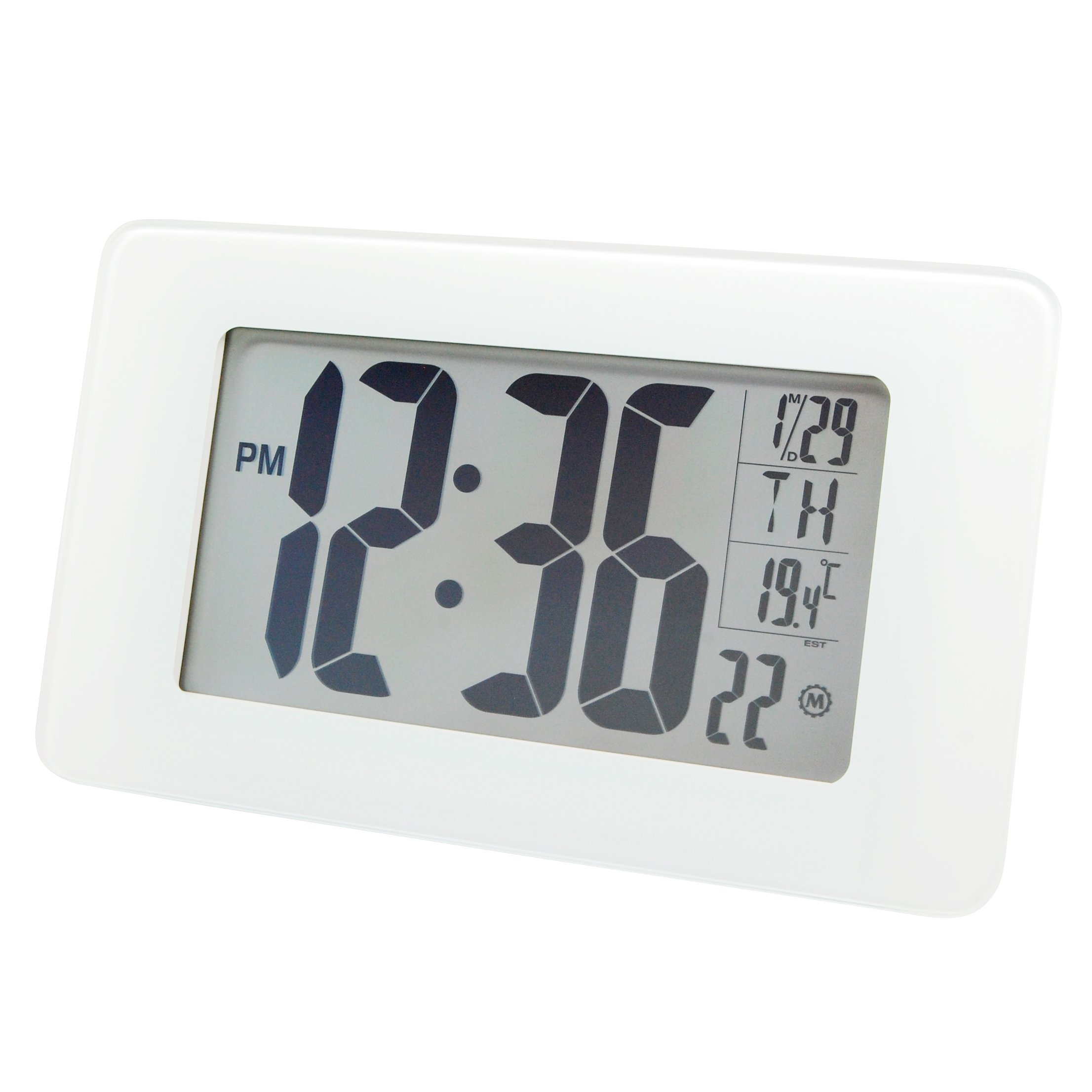 Marathon Watch Company CL030041WG Atomic Self-Setting/Adjusting Wall Clockwith Stand & 8 Timezones Atomic Self-Setting/Adjusting Wall Clock, White