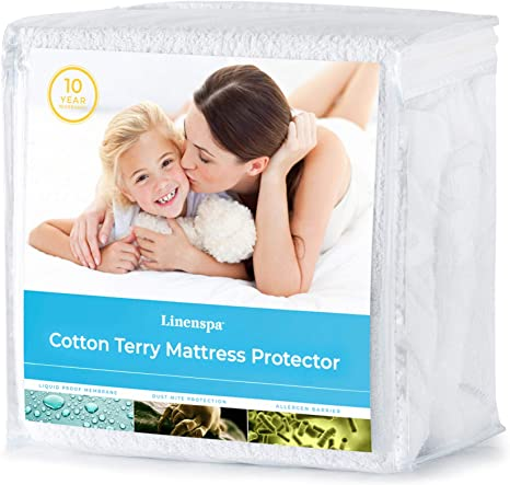 Amazon Com Linenspa Cotton Terry Mattress Top Protection Hypoallergenic Waterproof Blocks Dust Mites Allergens Accidents Protector Twin White Home Kitchen