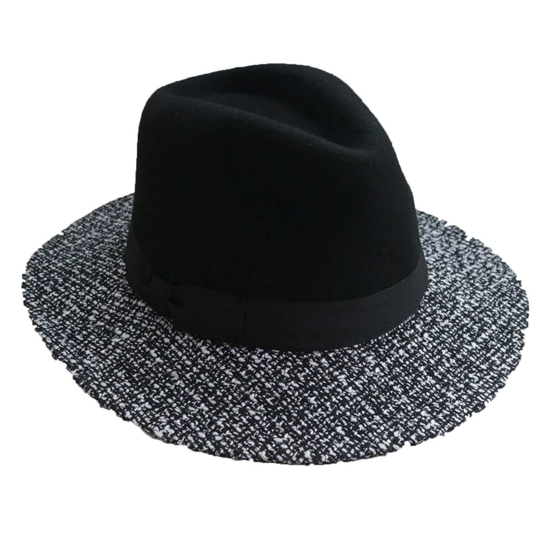 Jeremy Stone Fashion Patchwork Large Brim Black Wool Felt Hats for Women Chapeau Panama WMDW037