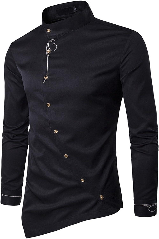 Smakke Mens Shirts Long Sleeve Oblique Button Tuxedo Shirt Collar Dress Shirts