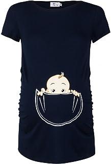 Para Mujer Camiseta premamá T-Shirt estampado bebé en bolsillo. 501p