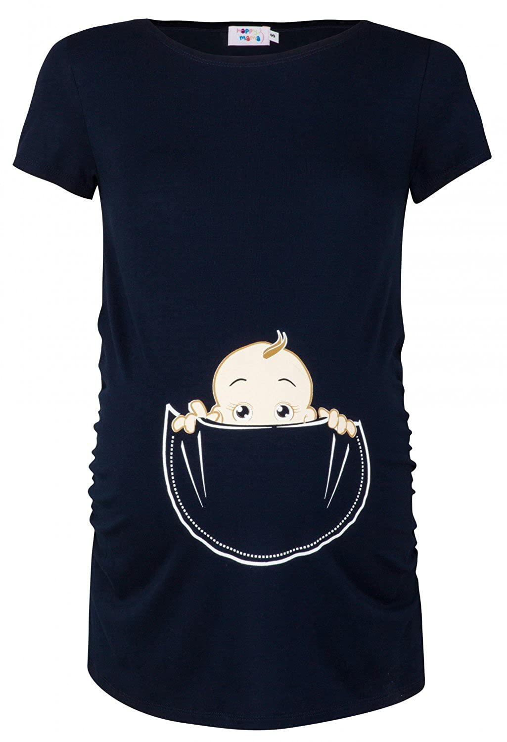 Happy Mama. Womens Maternity Baby in Pocket Print T-shirt Top Tee Shirt. 501p pregtop_501
