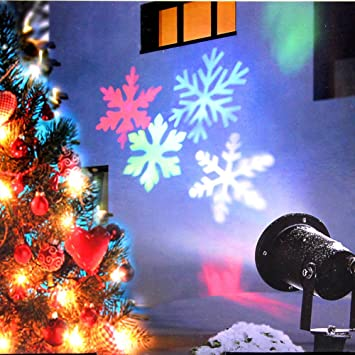 Christmas Lights, Colorful Moving Snowflake Light Projector Holiday Outdoor  Decorations Waterproof for Landscape Garden Halloween - Amazon.com: Christmas Lights, Colorful Moving Snowflake Light