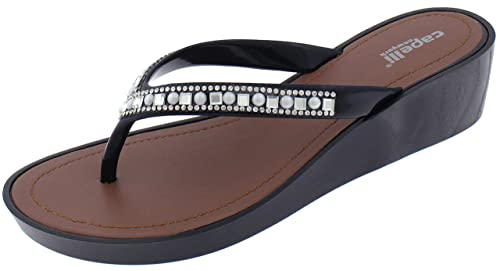 16aa6d44517ee8 Capelli New York Good Vibes Printed Ladies Flip Flop Black 6