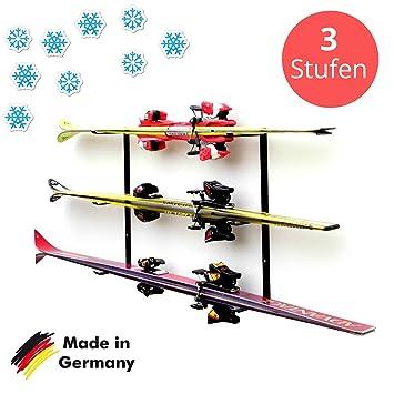 Skihalter | Wandhalterung Premium | 3 Ebenen | Beschichtete Skihalterung |  Skiaufbewahrung | Richtige Lagerung An