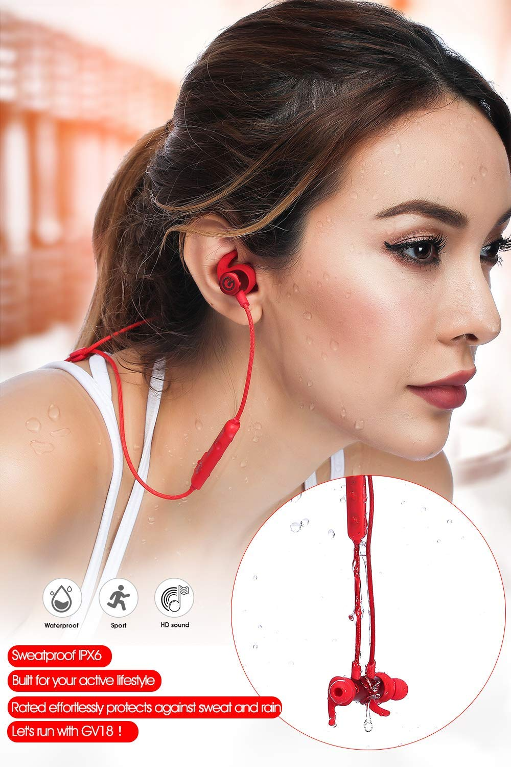 GEVO Bluetooth Headphone Sweatproof IPX6, in-Ear HiFi Bass Stereo Qualcomm Bluetooth V5.0 Wireless Earbuds w MIC and Noise Cancelling for Sports Travelling Household, 8 Hours Playtime Red