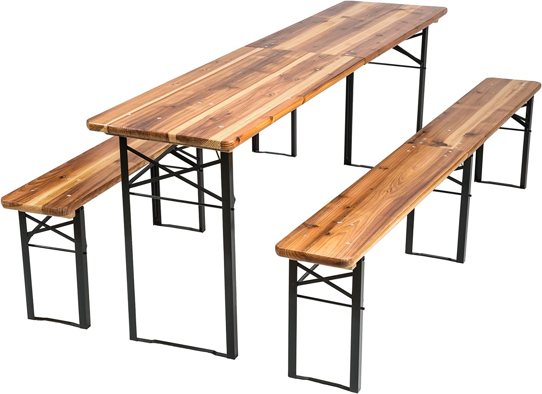 TecTake Conjunto de mesa y bancos de jardín y sillas de terraza muebles cervecería - varios modelos- (Tipo 3 | no. 402189)