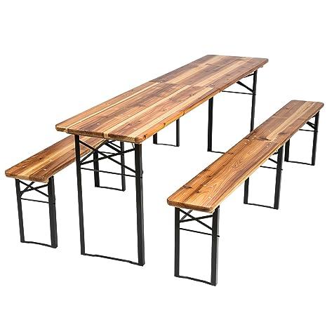 TecTake Conjunto de muebles mesa y bancos para cervecería en carpa al aire libre madera – 3 piezas - Mesa: aprox. 219 x 50,5 x 77,5 cm - Banco: aprox. ...
