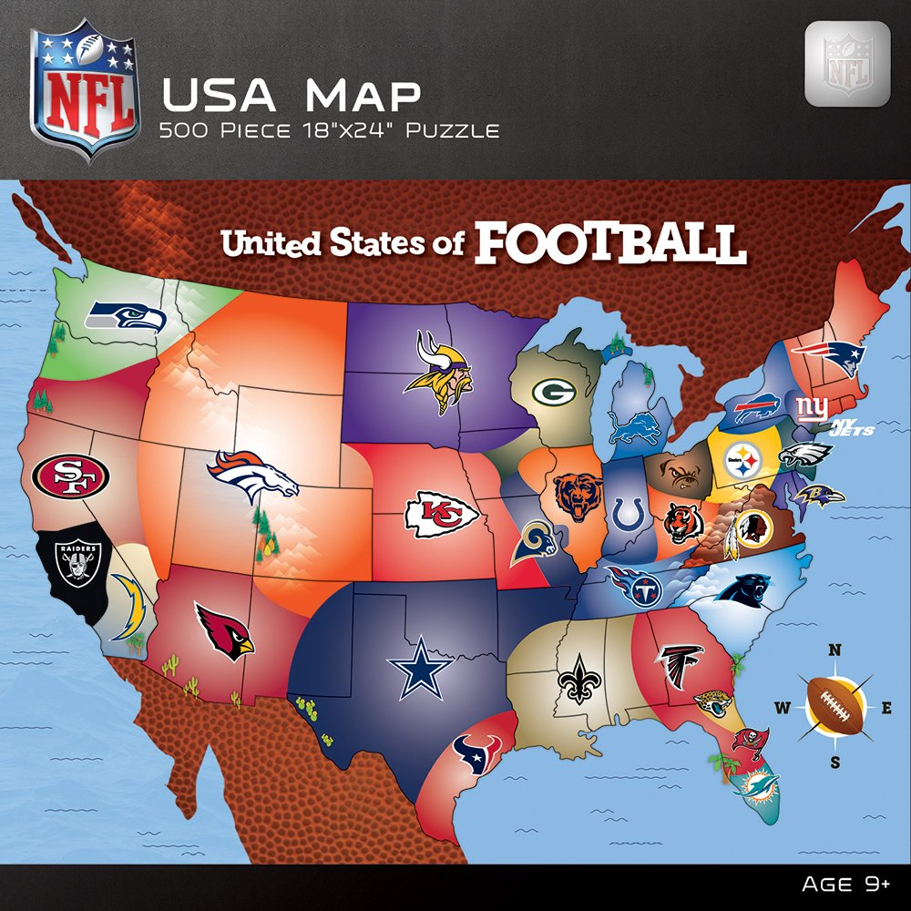 Amazoncom MasterPieces NFL Map Puzzle Piece Toys Games - Map of baseball teams in us