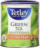 Tetley Tea Naturally Decaffeinated Lychee Pear Green Tea, 20-Count