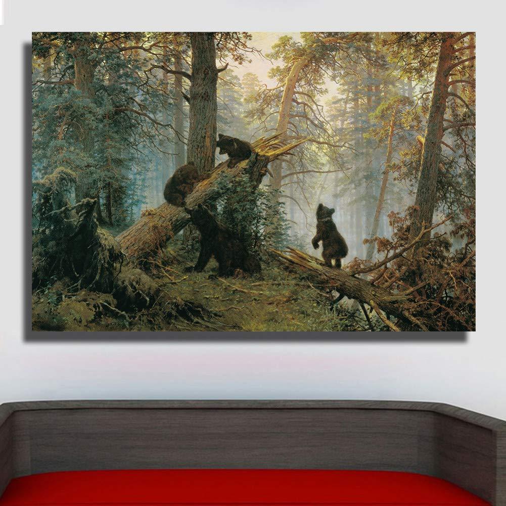 ERQINGYH Malerei Und Kalligraphie Rahmenlose Morgen In Einem Kiefernwald Ölgemälde Leinwand Wandbilder Für Wohnzimmer Poster Home Decor Poster Und Druck