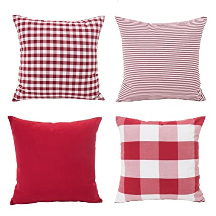4th emotion christmas pillow covers 18x18 inch set of 4 red and white throw cushion