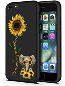 iPhone 6/6s Case,Sunflower and Cute Elephant Slim Anti-Scratch Shockproof Leather Grain Soft TPU Back Protective Cover Case for iPhone 6/6s 4.7