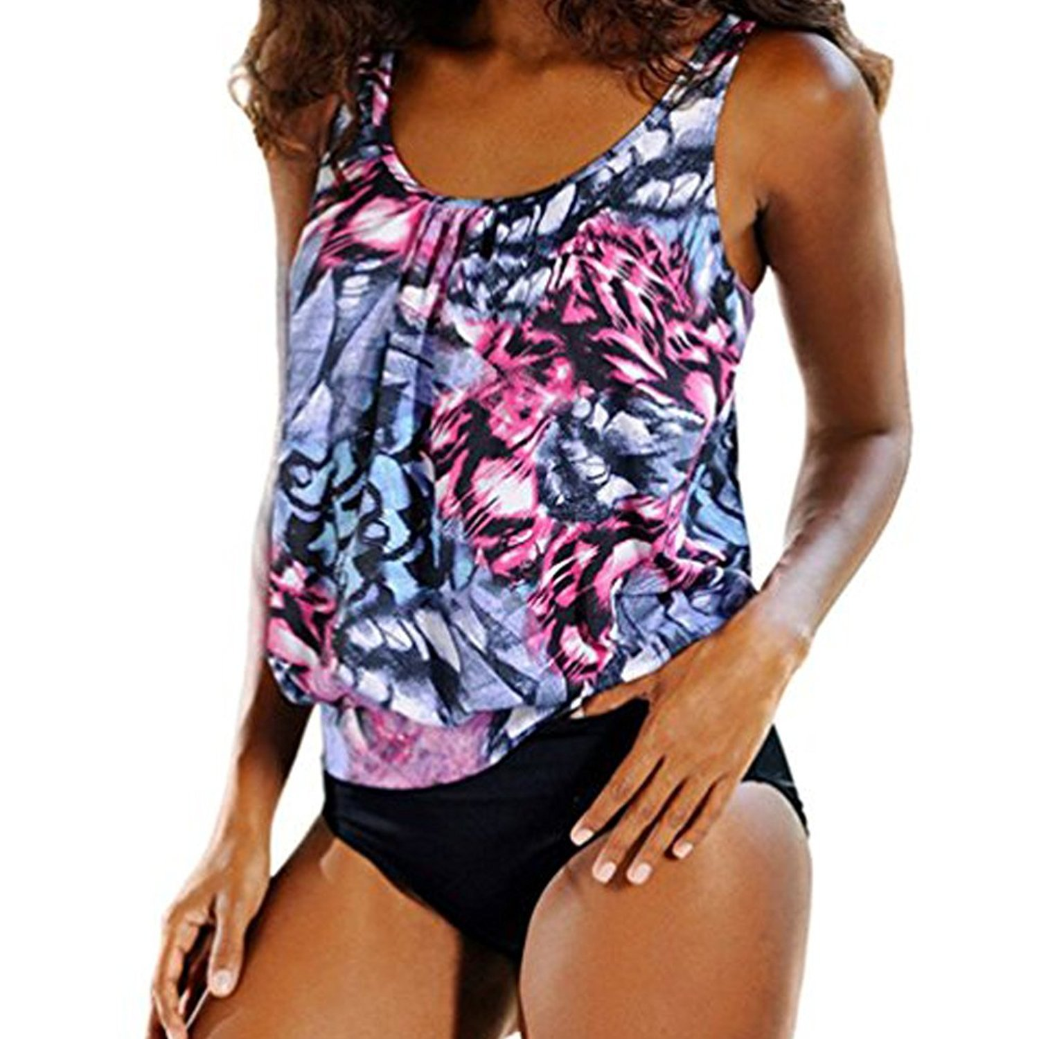 Blivener Women Padded Push Up 2 Pieces Tankini Sets Printed Flattering Casual Beachwear CJX117