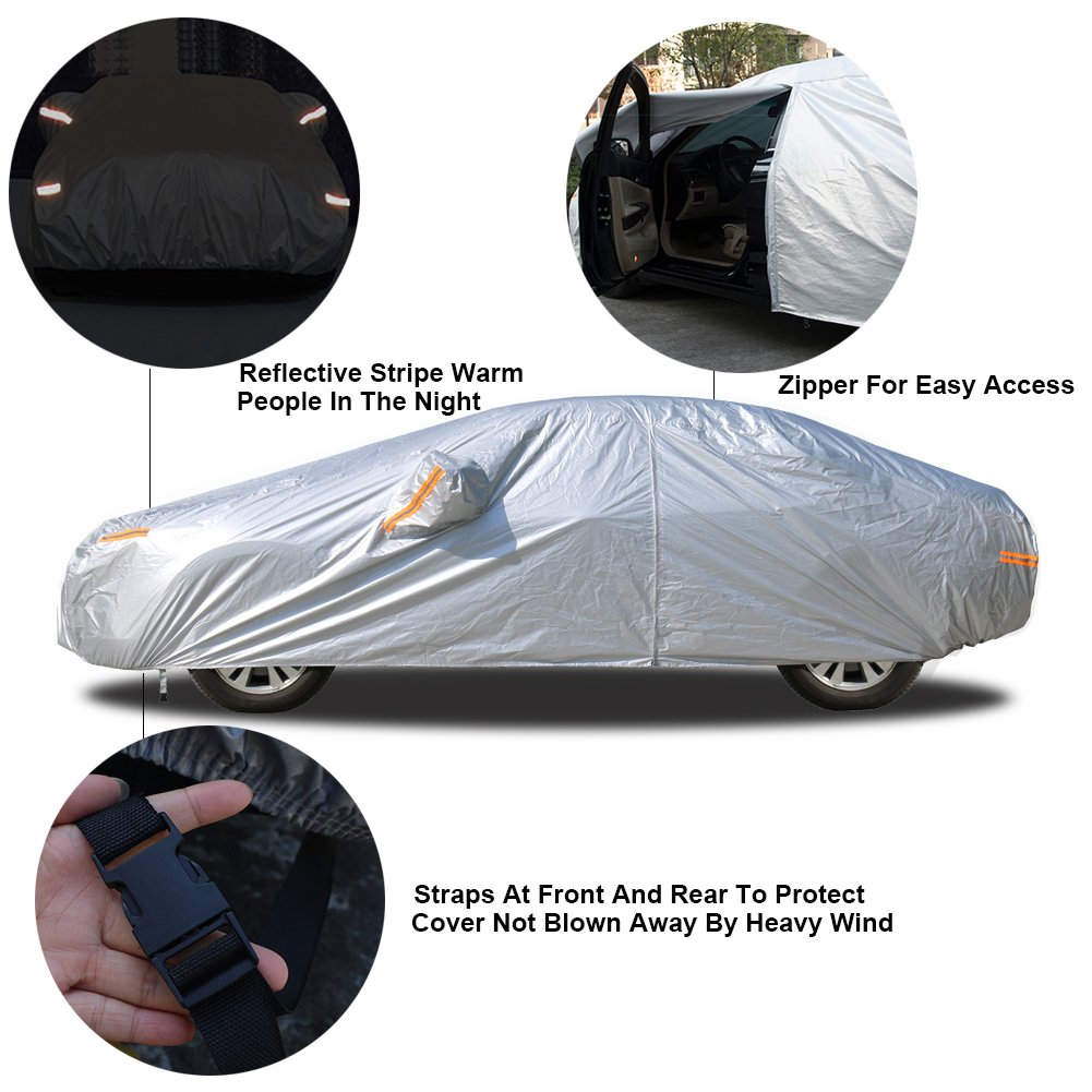 Kayme Car Cover Waterproof for Whole Car Sun Uv Rain Protection with Zipper Outdoor Indoor Fit Sedan Wagon 3XL 174 to 193 Inch