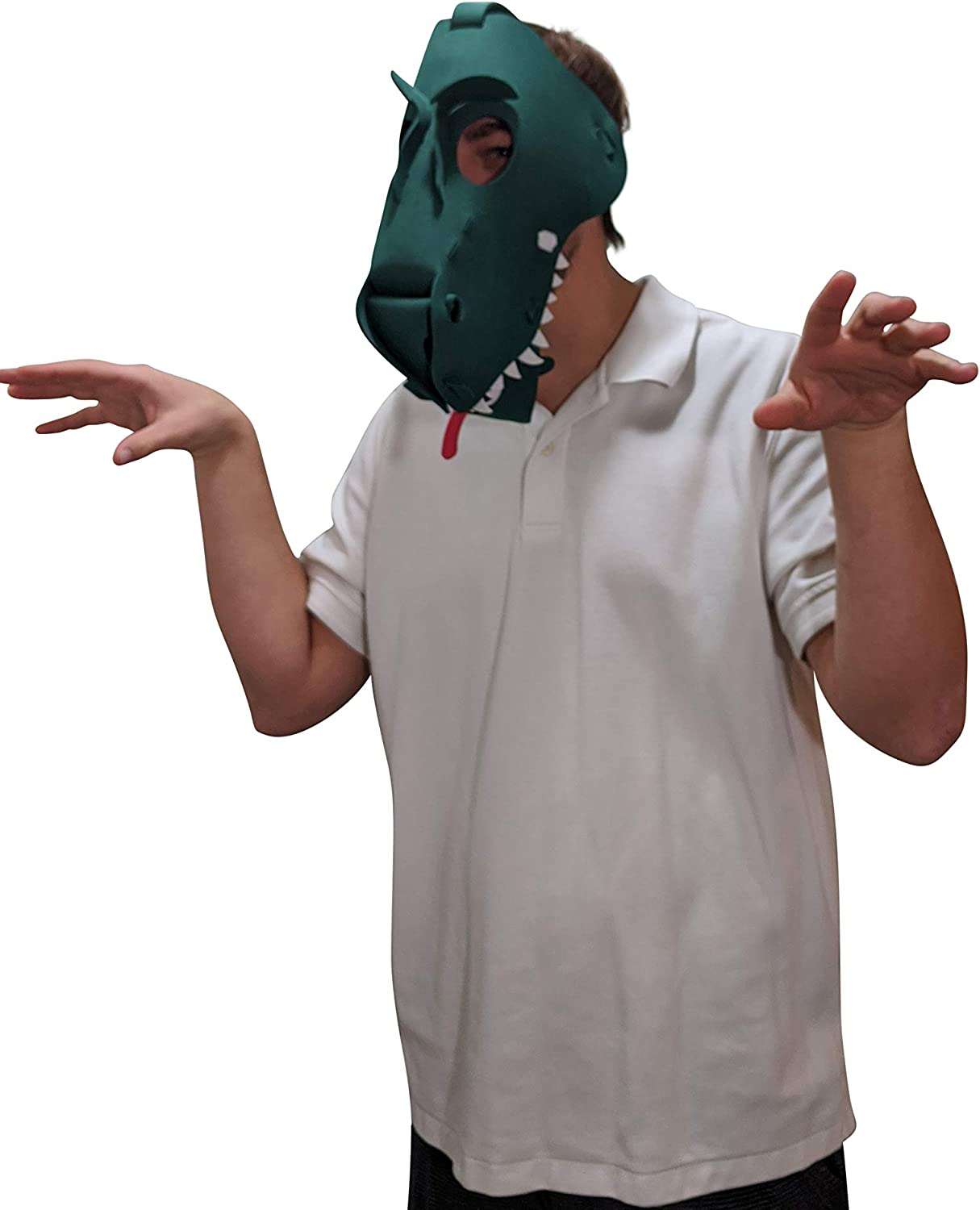 T-Rex Mask Animal Mask Costume Parties /& More Green Light /& Comfortable Tyrannosaurus Rex Mask Great for Halloween One Size Fits Adults /& Kids Sporting Events