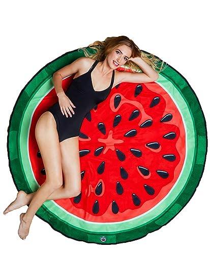 BigMouth Inc – Toalla Playa Melon Agua Sandia Gigante – XXL Redonda Bano Alfombra