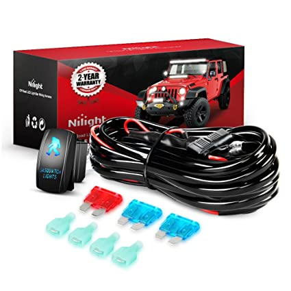 amazon com: nilight ni -wa 07 led light bar wiring harness kit 12v on/off 5  pin rocker switch power relay blade fuse for jeep boat trucks, 2 years  warranty: