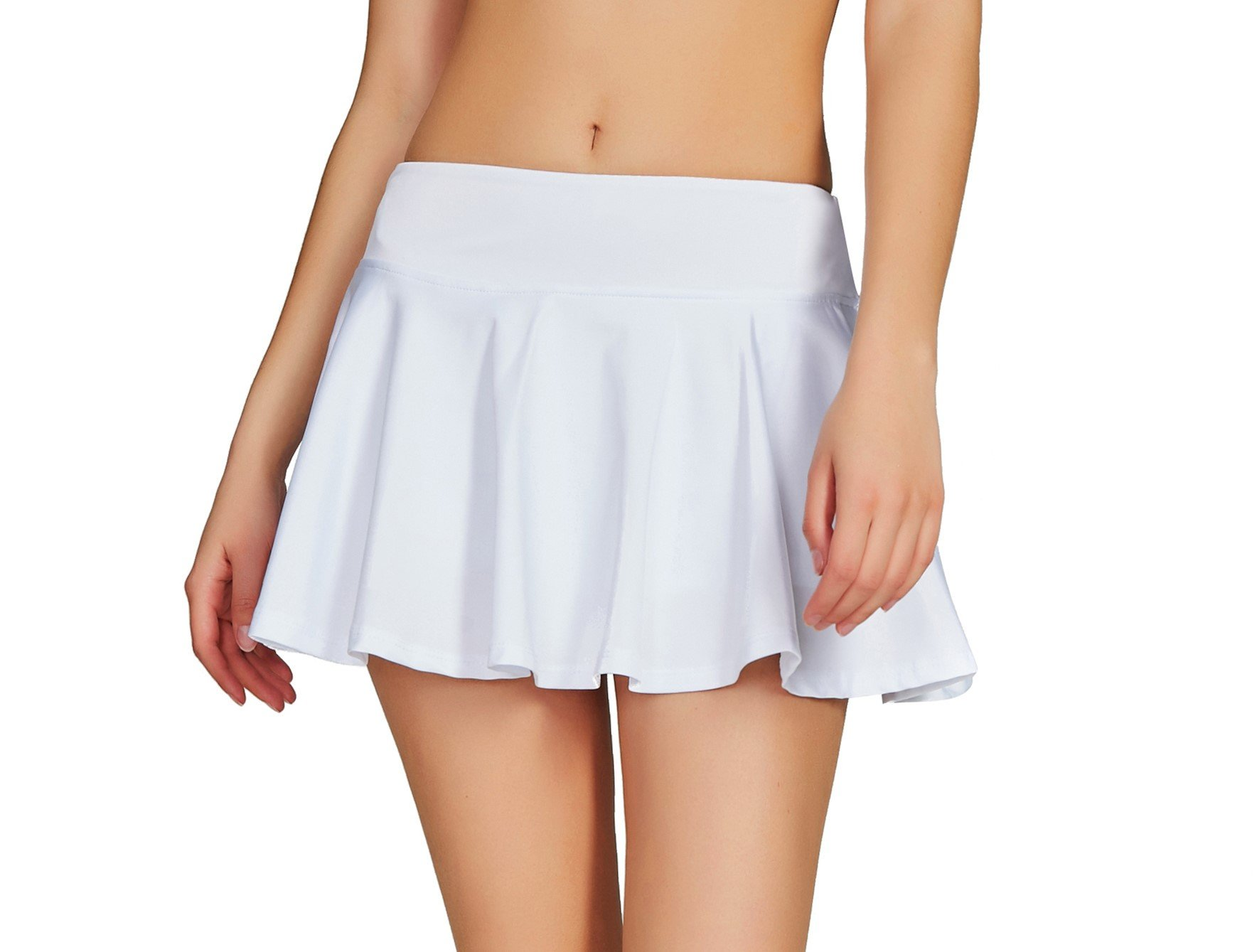 Cityoung Women Running Golf Skort Plus Size Pocket Girl Athletic Tennis Skirt Shorts Underneath l White