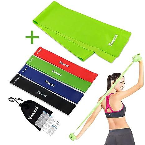 Yoassi Bandas de Resistencia, Kit de 5 Bandas Elasticas Fitness, de 4 Loop Bandas y 1 Plana Cinta de Ejercicios, para Yoga, Pilates, Crossfit, de ...