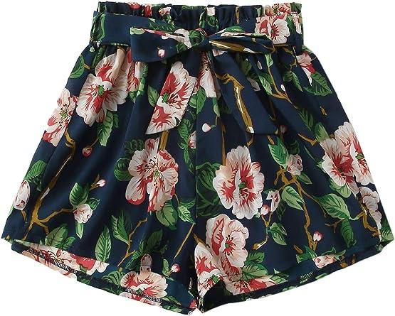 Milumia Womens Boho Floral Print Drawstring Waist Beach Shorts
