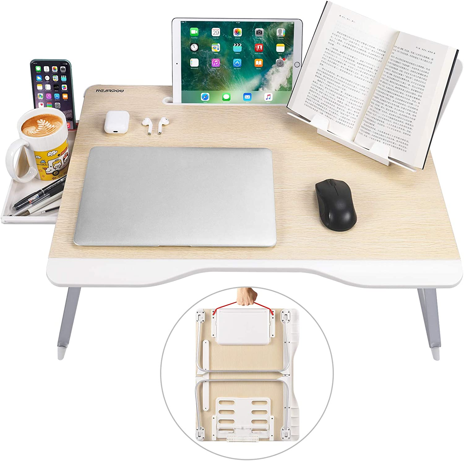 Laptop Bed Table, NEARPOW XXL Bed Trays for Eating, Laptops, Writing, Study and Drawing- Laptop Desk for Bed, Sofa and Couch- Folding Laptop Standwith Portable Book Stand and Drawer Storage - Wood