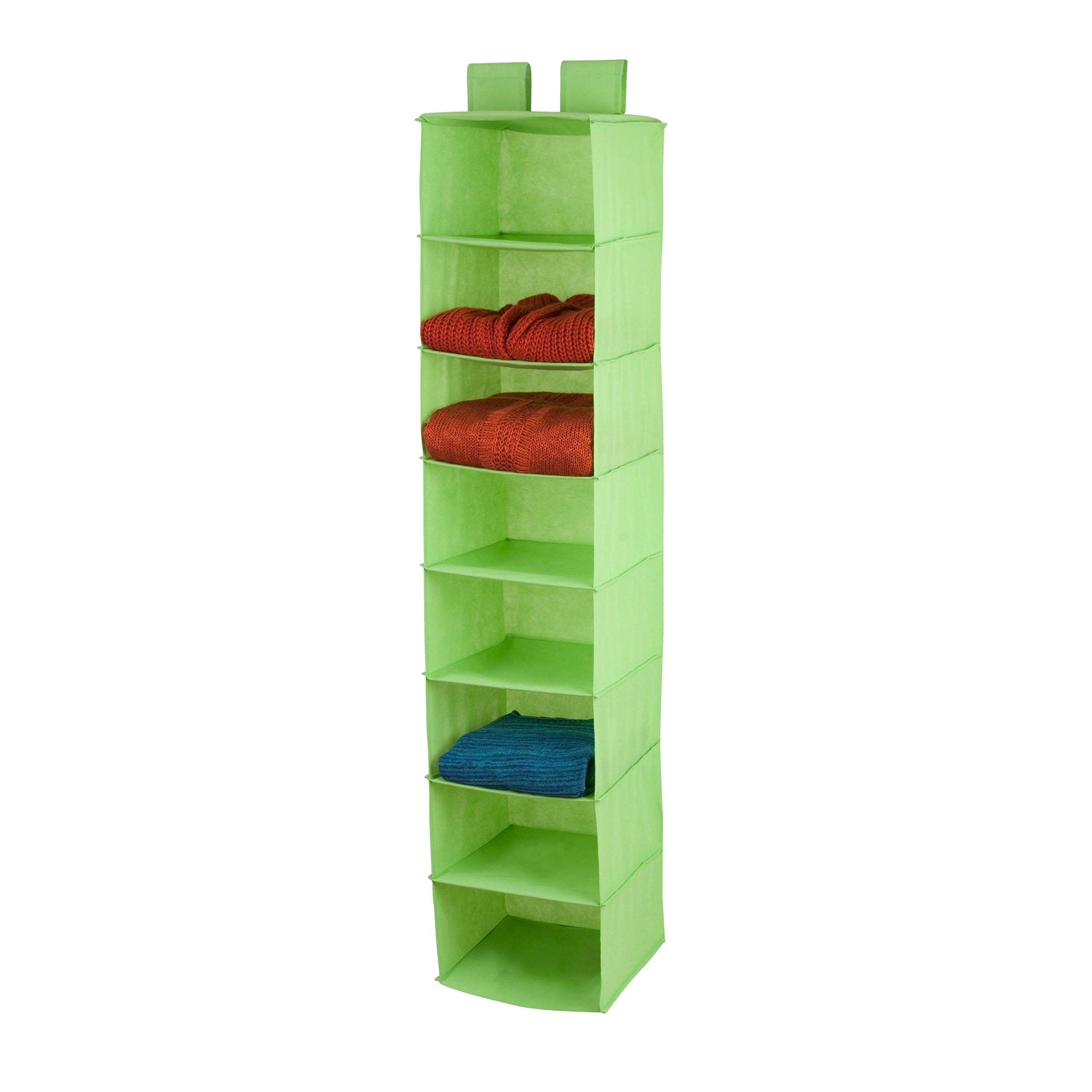 Honey-Can-Do 8-Shelf Non-Woven Hanging Closet Organizer, Lime Green